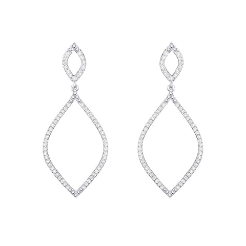 Cocktail Diamond Hourglass Earrings, in White Gold