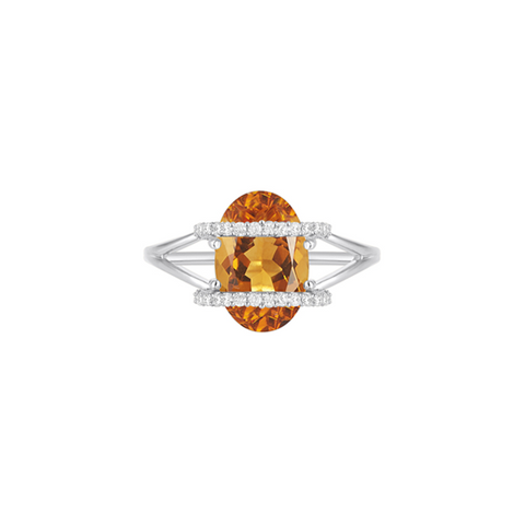 Galaxy Ares Mini Ring in Citrine, Diamonds and White Gold