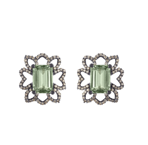 Lava Stella Prasiolite Stud Earrings