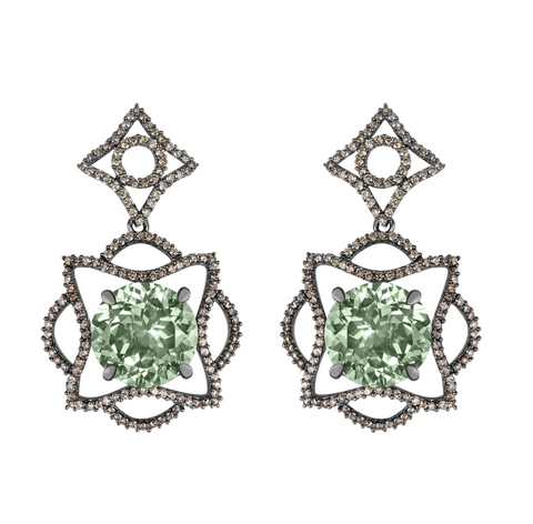 Lava Blossom Prasiolite Earrings