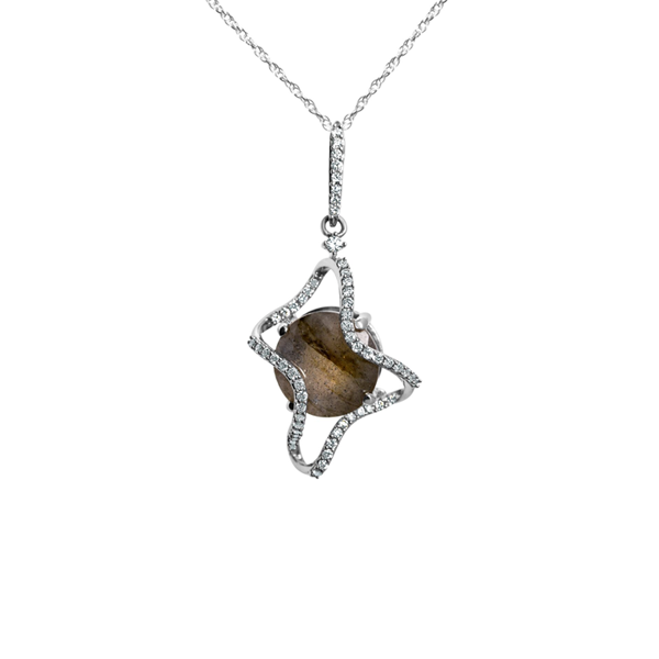 Galaxy Ares Pendant in Labradorite, Diamonds and White Gold