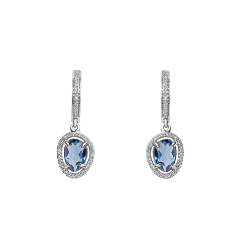 Daytime Diamond Slice Dangle Earrings, in Blue Topaz and White Gold