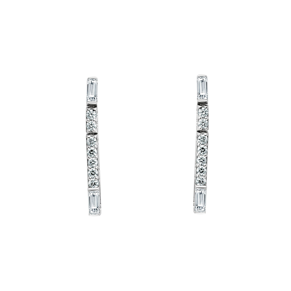 Cocktail Diamond Baguette Dangle Earrings, in White Gold