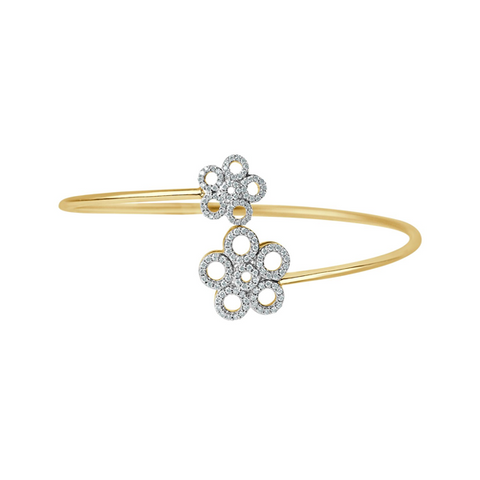 Daytime Diamond Open Flower Wrap Bracelet, in Yellow Gold