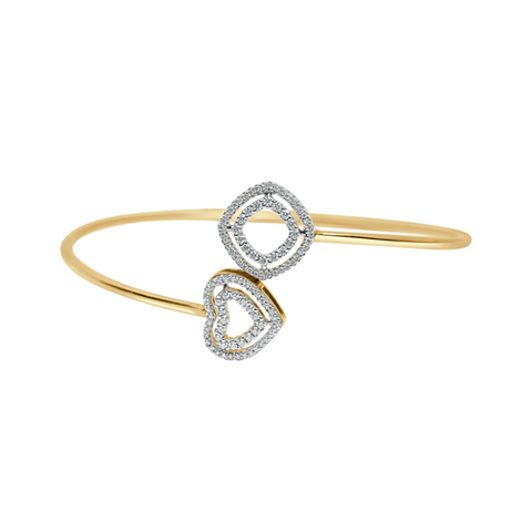 Daytime Diamond Wrap Heart Bangle, in Yellow Gold