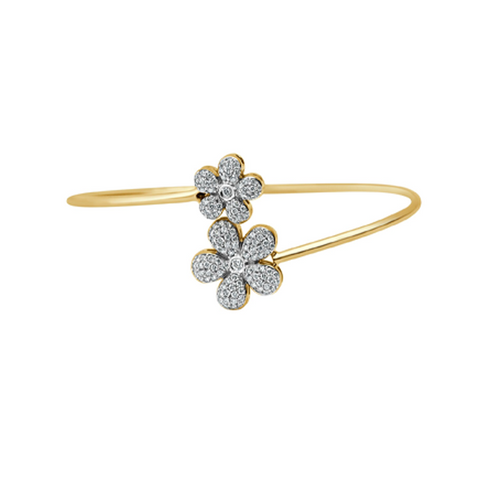 Daytime Diamond Closed Flower Wrap Bracelet, in Yellow Gold