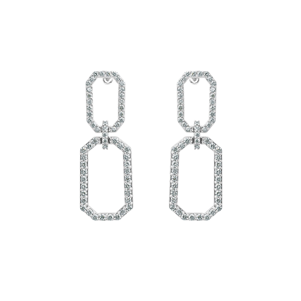 Cocktail Diamond Link Earrings, in White Gold