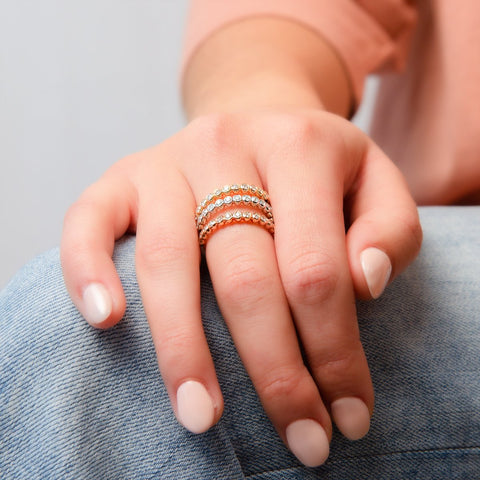 Circle Diamond Dot Stack Ring