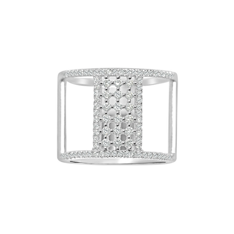 Daytime Diamond Wide Line Ring, in White Gold