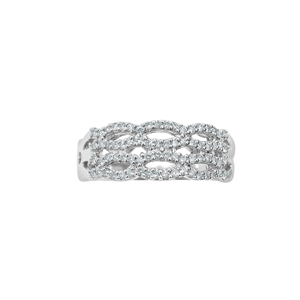 Cocktail Diamond Twist Ring, in White Gold