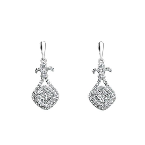 Daytime Diamond Fleur Dangle Earrings, in White Gold