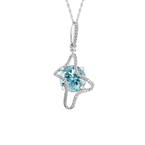 Galaxy Ares Pendant, in Blue Topaz and White Gold