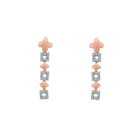 Daytime Diamond Drop Earrings, in Rose and White Gold
