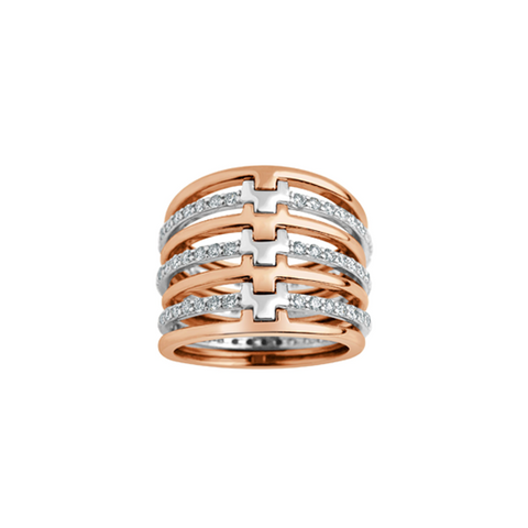 Daytime Diamond Multi Stack Ring, in Rose and White Gold