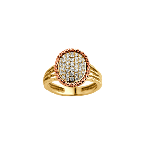 Cocktail Diamond Dome Ring, in Yellow Gold