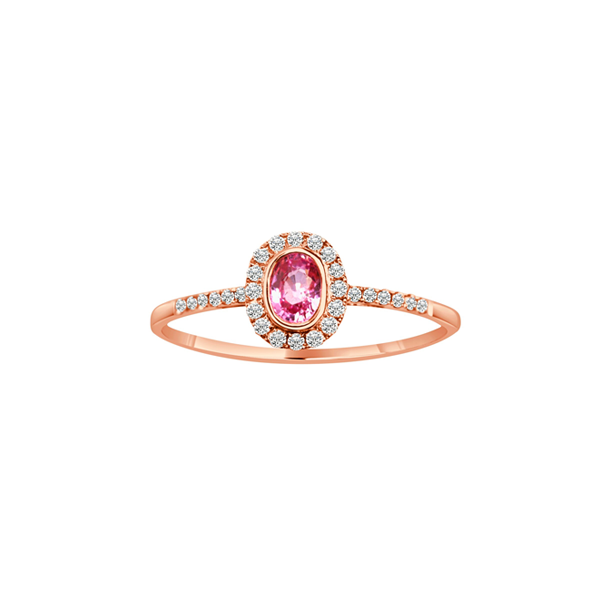 Daytime Diamond Princess Ring, in Pink Tourmaline and Rose Gold