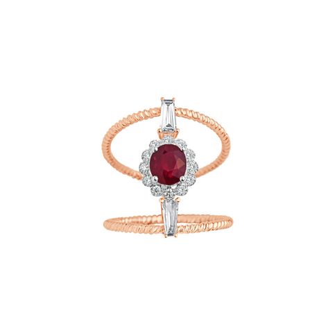 Cocktail Diamond Baguette Line Ring, in Ruby and Rose Gold