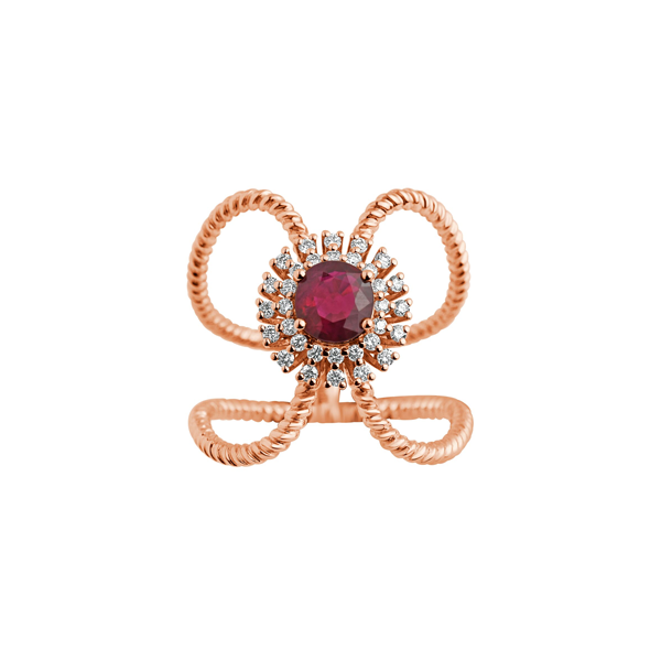 Cocktail Diamond Ola Ruby Ring, in Rose Gold