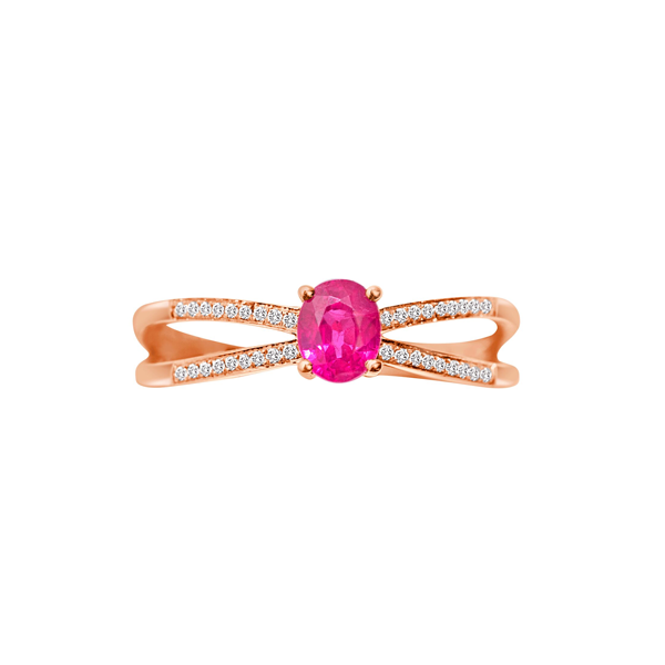 Daytime Diamond Lily Ring, in Pink Tourmaline and Rose Gold