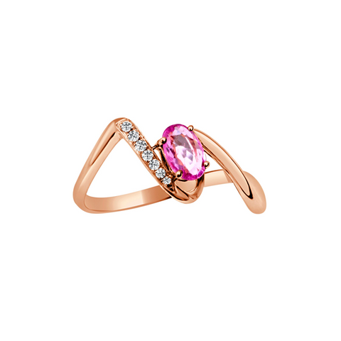 Daytime Diamond Lea Ring, in Pink Tourmaline and Rose Gold
