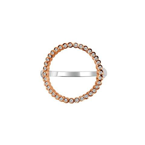Daytime Diamond Open Circle Ring, Rose Gold