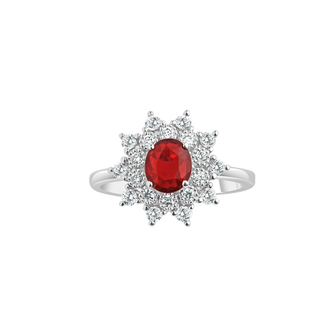 Cocktail Diamond Halo Ring, in Ruby and White Gold