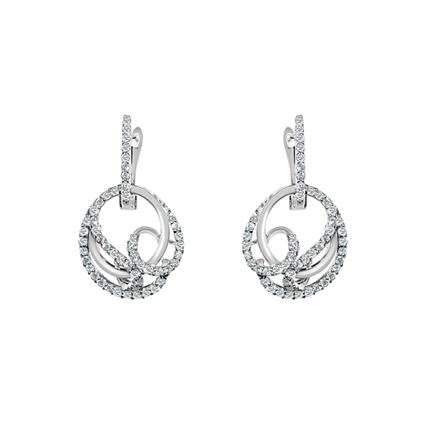 Daytime Diamond Twisted Circle Earrings, in White Gold