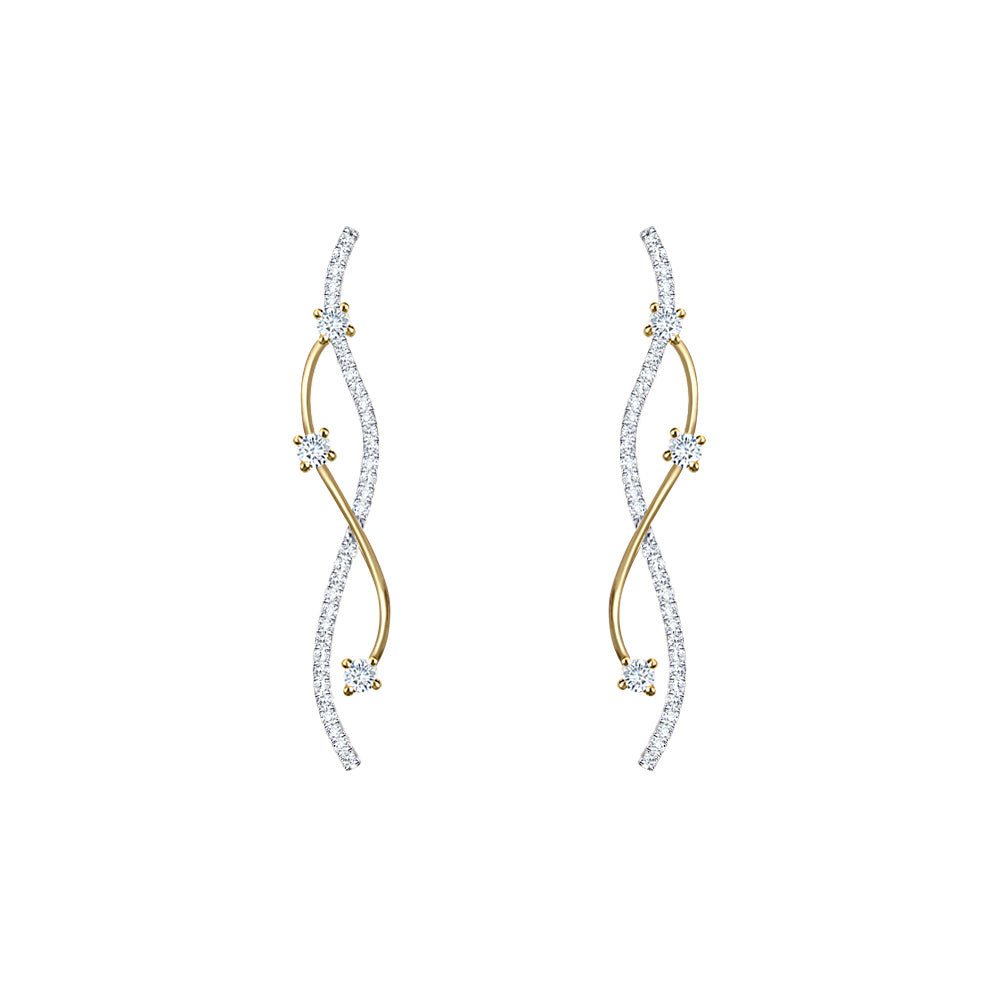 Cocktail Diamond Cascade Earrings, in Yellow Gold