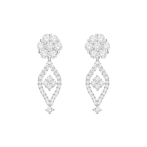 Cocktail Diamond Celebration Earrings, in White Gold