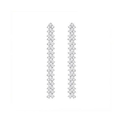 Cocktail Diamond Houndstooth Earrings, in White Gold