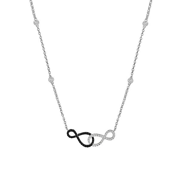 Daytime Diamond Mini Double Infinity Necklace, in White Gold