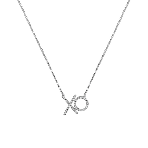 Daytime Diamond Hugs and Kisses Necklace, in White Gold