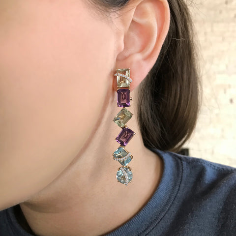 One-of-a-kind Spring Mismatched Multi-Gem Earrings, in Diamonds and Yellow Gold