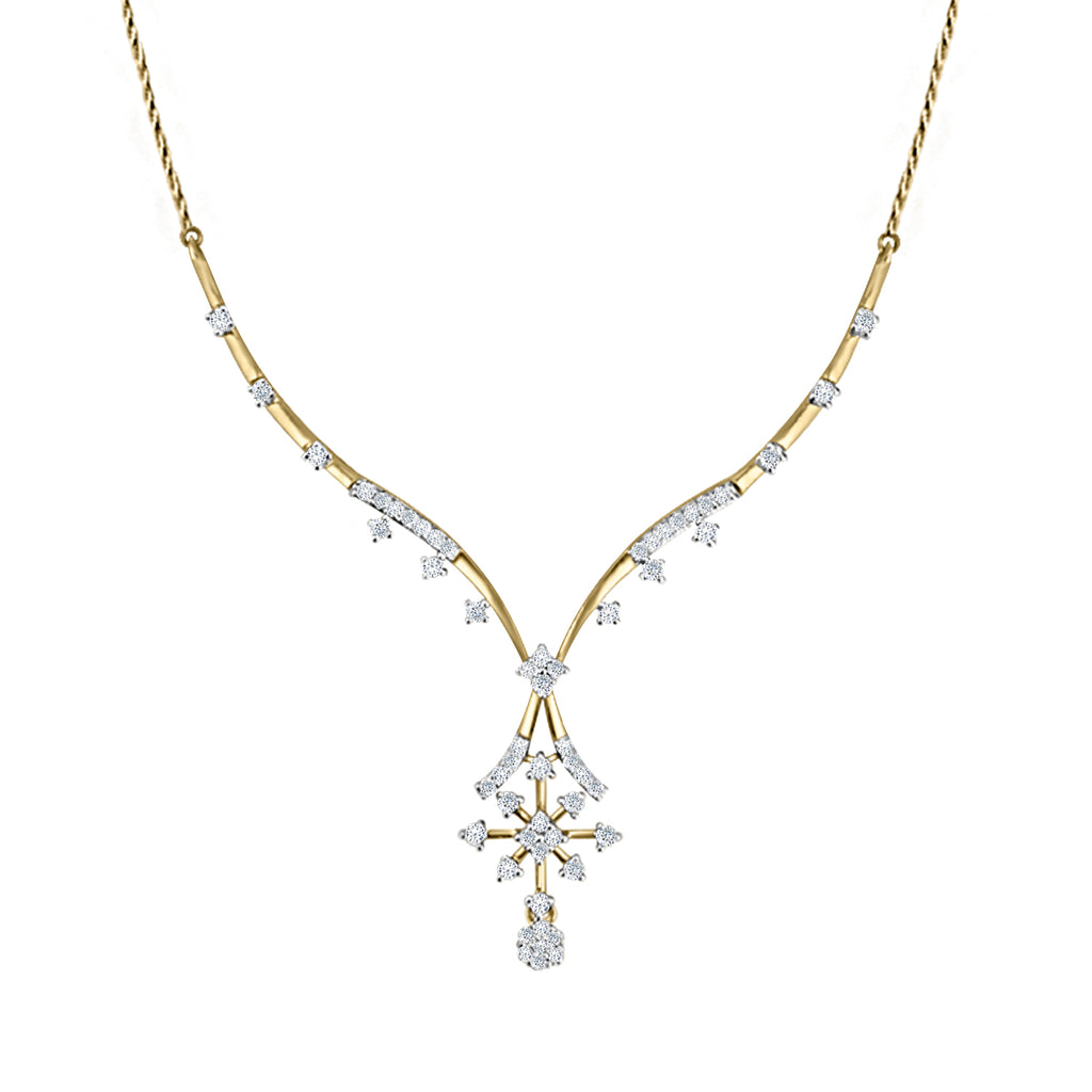 Cocktail Diamond Flute Necklace, in Yellow Gold