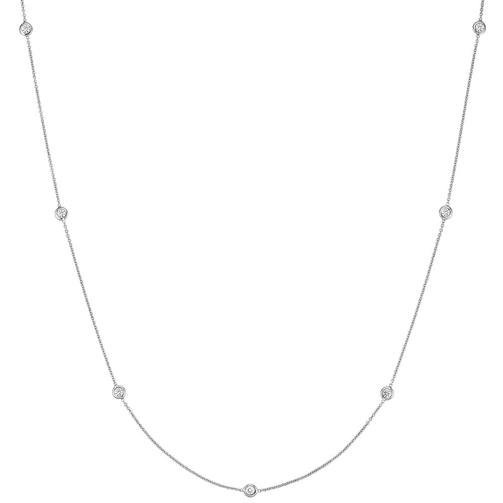 Daytime Diamond 0.25ctw Bezel Set Strand Necklace, in White Gold