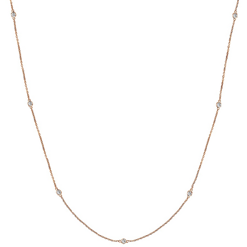 Daytime Diamond 0.25ctw Bezel Set Strand Necklace, in Rose Gold