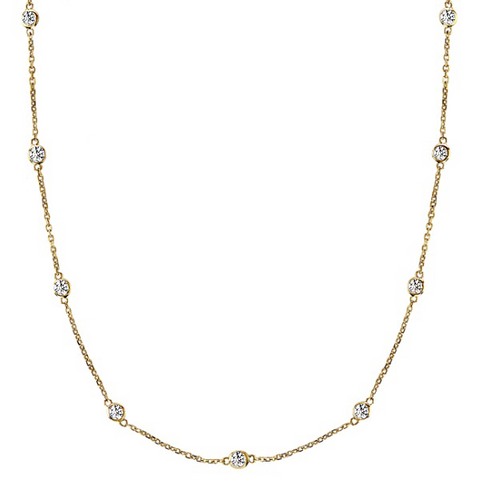 Daytime Diamond 1ctw Bezel Set Strand Necklace, in Yellow Gold