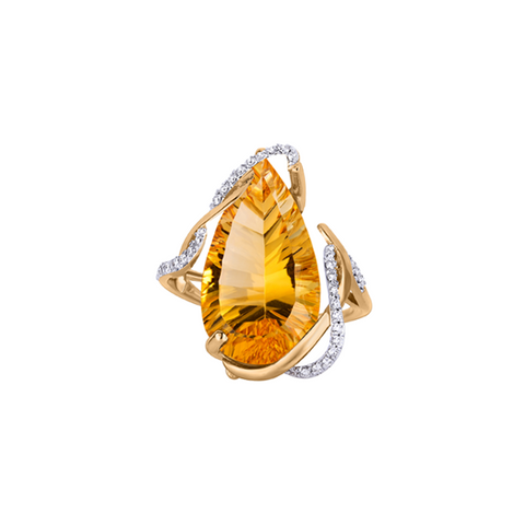 Galaxy Burst Ring, in Citrine and Diamonds