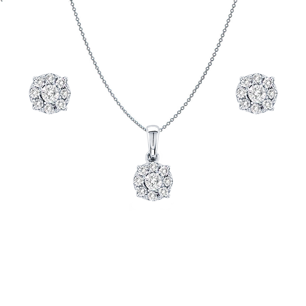 Daytime Diamond Cluster Stud Earrings and Necklace Set, in White Gold