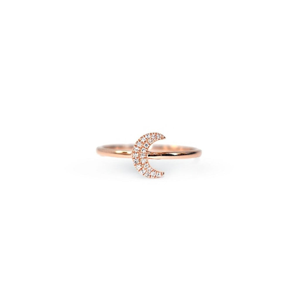 Crescent Moon Diamond Ring
