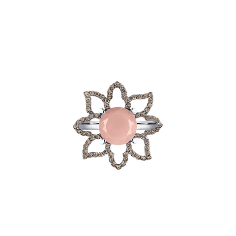 Lava Luna Ring, Guava Quartz and Diamonds