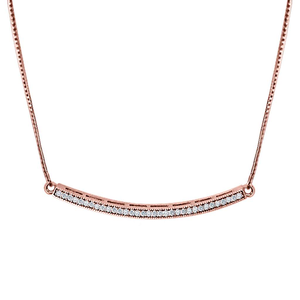 Daytime Diamond Crescent Necklace, in Rose Gold