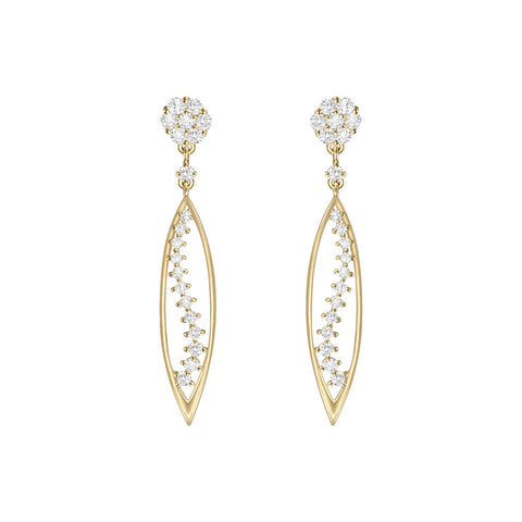 Cocktail Diamond Vine Earrings, in Yellow Gold