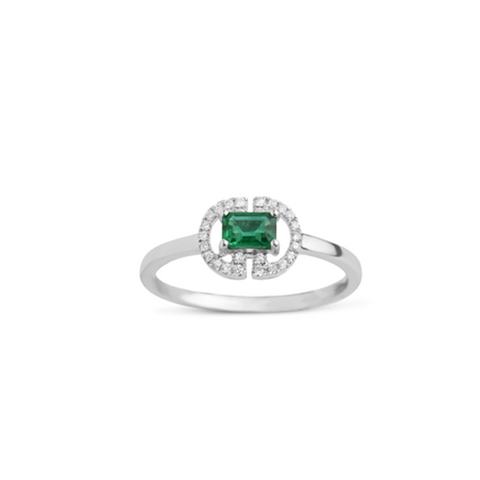 Daytime Diamond Empress Ring, in Emerald and White Gold