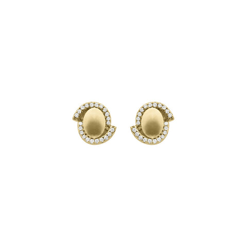 Daytime Diamond Asymmetrical Saucer Stud Earrings, in Yellow Gold