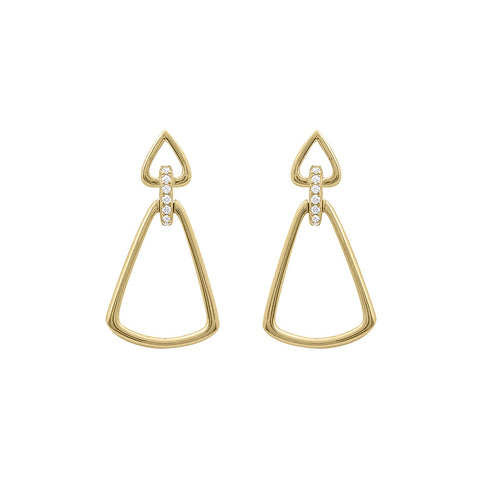 Daytime Diamond Vertex Earrings, in Yellow Gold