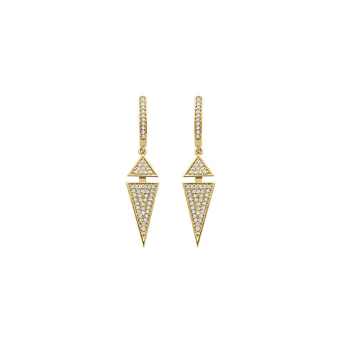 Daytime Diamond Modular Triangle Earrings, in Yellow Gold