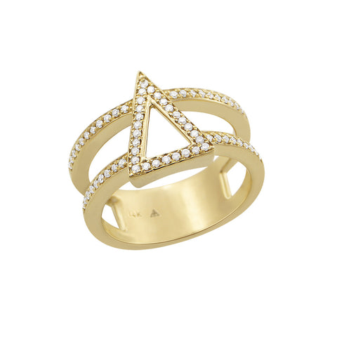 Daytime Diamond Iso Triangle Ring, in Diamond and Gold