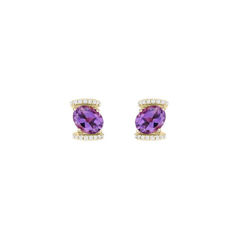 Galaxy Virgo Stud Earrings in Purple Amethyst, Diamonds and Yellow Gold
