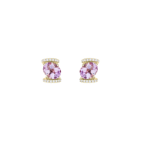 Galaxy Virgo Stud Earrings in Rose de France, Diamonds and Yellow Gold
